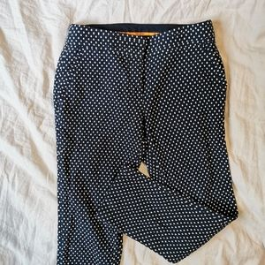 Tory Burch Navy and Ivory Polka dot Cropped Pants
